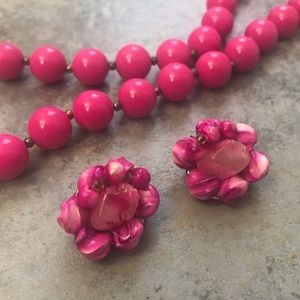 Vintage Bright Pink Earrings & Beaded Necklace